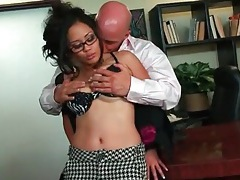 Kissing and fingering his sexy secretary tubes