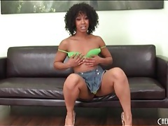 Chatty misty stone looks sexy in a short skirt tubes