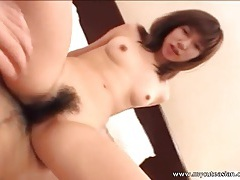 Hairy asian pussy is wet for his cock tubes