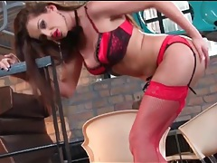 Sandra shine is smoking hot in red lingerie tubes