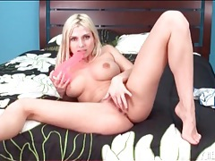 Pink dildo visits shaved pussy of blonde girl tubes