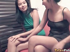 Shy asian girls blow him together tubes