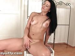 Hottie sucks her dildo and masturbates her pussy tubes