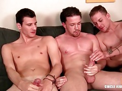 Three guys lube up and jerk off lustily tubes
