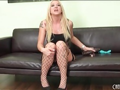 Blonde pornstar leya falcon in sexy fishnets tubes