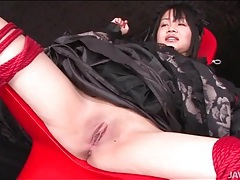 Speculum opens pussy of bound japanese girl tubes