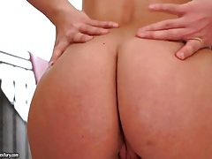 Hot ass girl bends over and rubs her pussy tubes