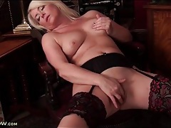Blonde milf models body and sexy stockings tubes