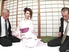 Kimono cutie rinka kanzaki sucks two dicks tubes