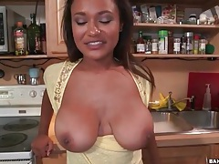 Natural tits get all wet in the kitchen tubes