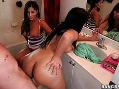 Latina balled in the bathroom by big cock tubes