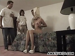Busty amateur girlfriend gangbang with a paper bag on her face tubes