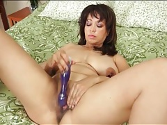 Shaved milf pussy masturbated by a toy tubes