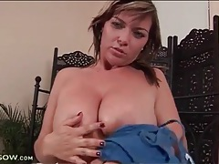 Curvy beauty sucks dildo and masturbates tubes
