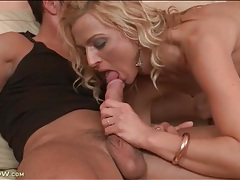 Chick with tiny titties sucks his hard cock tubes