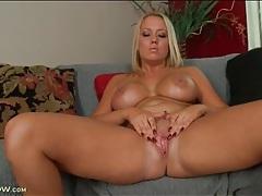 Big tits blonde tara star fingers her cunt tubes