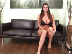 Curvy brunette shakes big tits and ass tubes