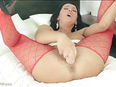 Sexy red stockings on toy fucking milf tubes