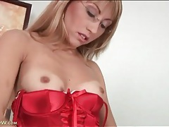 Red satin is beautiful on milf in glasses tubes
