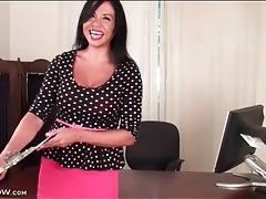 Latina secretary with big tits strips tubes