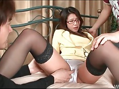 Sexy girl in white satin panties groped tubes