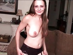 Milf strips to stockings and toy fucks pussy tubes