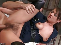 Hairy pussy slut in tight leather boots fucked tubes