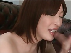 Schoolgirl sucks cum from his hard cock tubes