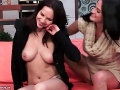 Lesbian kissing with girls in sexy sweaters tubes