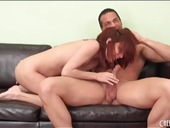 Redhead sucks dick and has doggystyle sex tubes