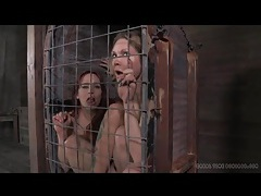 Two girls in a small cage have dildo sex tubes