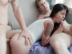 Asian anally fucked as she sucks a hard dick tubes