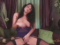 Curvy brunette mom in lingerie loves to masturbate tubes