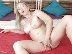 Naked blonde milf beauty masturbates solo tubes