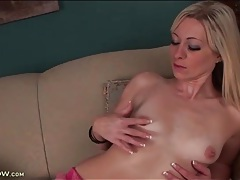 Finger fucking blonde in sexy black stockings tubes