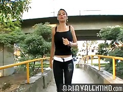 Tight jogging pants and tank top on aria valentino tubes