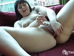 Hot sarah toying her pussy and ass at the window tubes