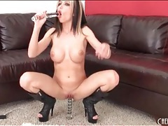 Round fake tits on a sexy masturbating girl tubes