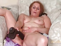Big black dildo fucks shaved mature cunt tubes
