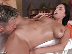 Big tits get a sexy lotion massage tubes