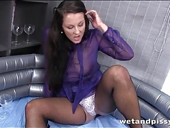 Fishnets and sheer blouse on piss play girl tubes