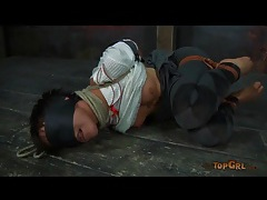 Delicate rope bondage with girl in her dungeon tubes