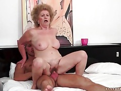 Granny takes cock ride on young fit guy tubes