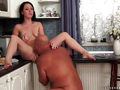 Old guy fucks young pussy on kitchen counter tubes