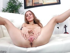 Upskirt and sexy striptease with fingering tubes