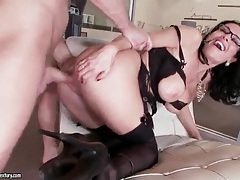 Milf in lingerie and glasses takes big cock tubes