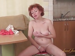 Mature redhead shakes her ass in lace panties tubes