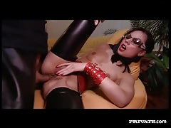 Couple in leather has deep anal sex tubes