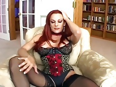 Sexy redhead fucking in black seamed stockings tubes