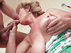 Big tits granny slut sucks a hard dick tubes